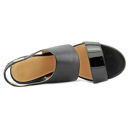 Calvin Klein Bertha Damen Kunstleder Keilabsätze Sandale Black/Black