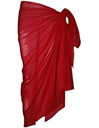 Passion4Fashion Plain Red Cotton Sarong