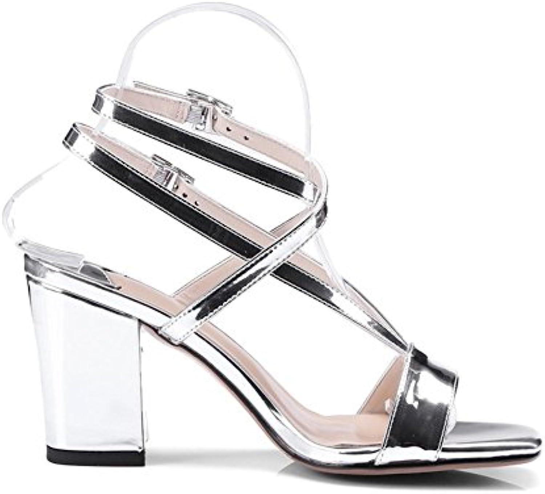 GAIHU Chaussures été 8cm argent, sandales talon rugueux, été Chaussures Open-Toe High Heels, Word, boucle de Sexy sauvagesB07D56RGSRParent 4488a7