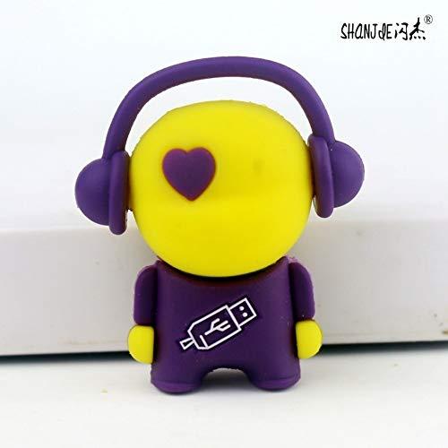 Master 16G U Disk Benutzerdefinierte USB Cartoon Kreative Geschenk Gelb Kopf Lila Körper ()