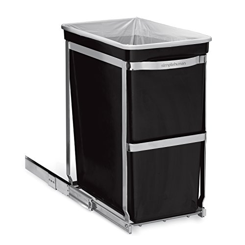 Simplehuman - Cubo de basura con soporte extraíble, color negro