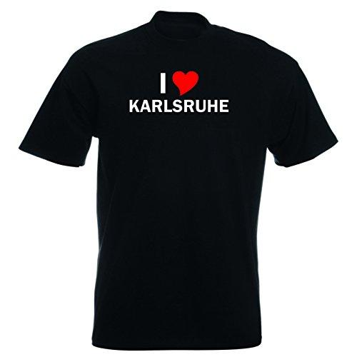 T-Shirt mit Städtenamen - i Love Karlsruhe - Herren - unisex Schwarz