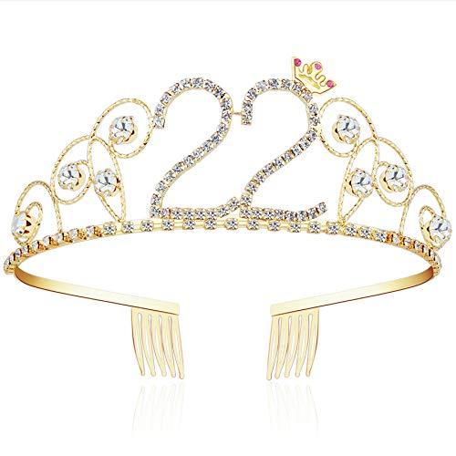 ArtiDeco Kristall Geburtstag Tiara Gold Birthday Crown Prinzessin Kronen Haar-Zusätze Gold Diamante Glücklicher 16/18/20/21/30/40/50/60/70/80/90/100 Geburtstag (22 Jahre alt)