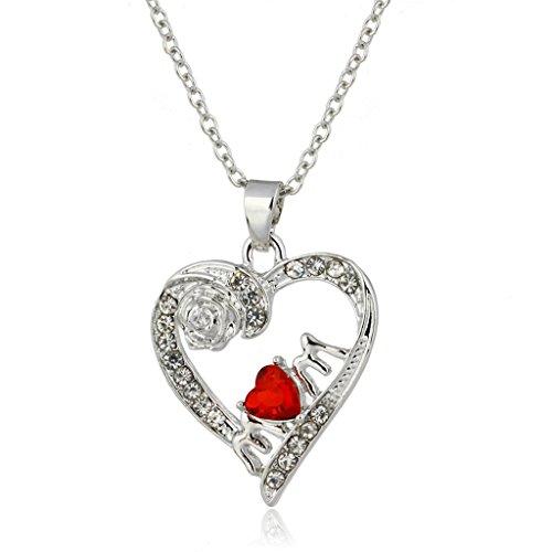 Bella Rosa Collana Di Cristallo Pendente Cuore Rosso Lucido Diamante Per Mamma Regalo Di Festival
