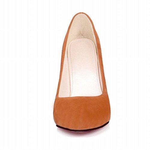 Mee Shoes Damen simpel Stiletto Nubukleder Geschlossen Pumps Aprikosegelb