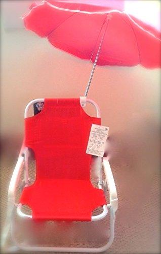 Children's Parasol Chair - Kids Deckchair & Parasol set RED - Beach chair
