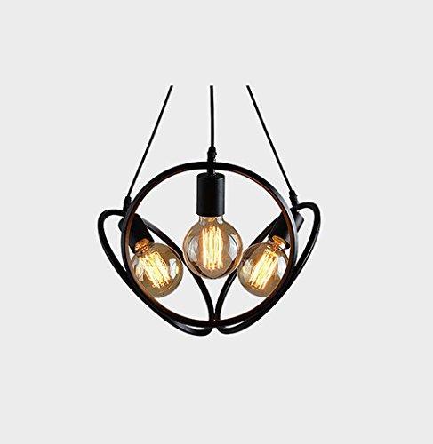 LED Pendelleuchte, 3-Licht Globe/Neuheit Kronleuchter Downlight - Mini-Stil, süß, einstellbar, 110-120V/220-240V Glühbirne nicht im Lieferumfang enthalten (Farbe : Schwarz) (Eisen-finish-mini-kronleuchter)