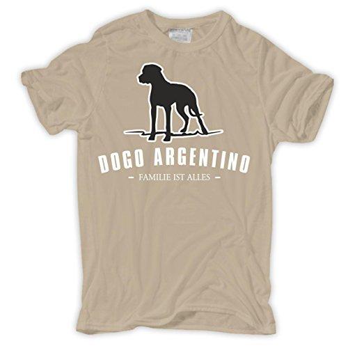 Männer und Herren T-Shirt Dogo Argentino - Familie ist alles Größe S - 8XL Sand