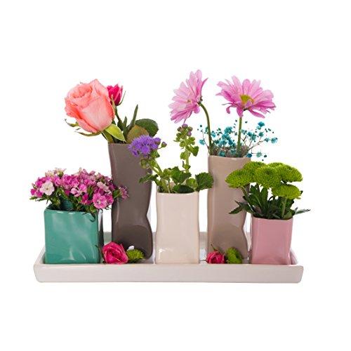 Keramikvasenset Blumenvase Keramikvasen bunt / weiß Vase Blumen Pflanzen Keramik Set Deko Dekoration (5 Vasen, bunt)