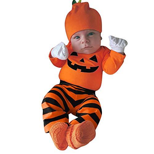 Neugeborenes Baby Jungen Mädchen 3 Stücke Schädel Drucken Strampler Kleidung Minirock Set mit Stirnband und Hut Halloween Karneval Party Kleid von Innerternet