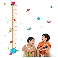 DIY Outer Space Planet Pilot Rocket Growth Chart Home Decor Height Measure Wall Stickers Kids Boy Room Baby Nursery muralU