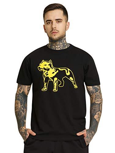 Amstaff Herren Logo Shirt Männer T-Shirt Kurzarm Sport Fitness schwarz/gelb 2.0 2XL -