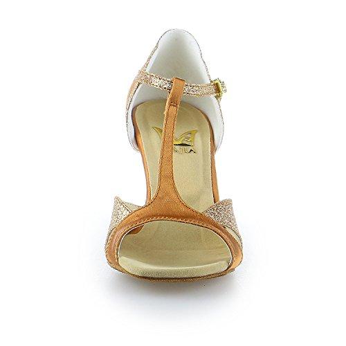 Sandali Donna Jia Jia 2055 Tacco A Zampa Super Raso Con Brillantini Scintillanti Scarpe Da Ballo Latino Tan