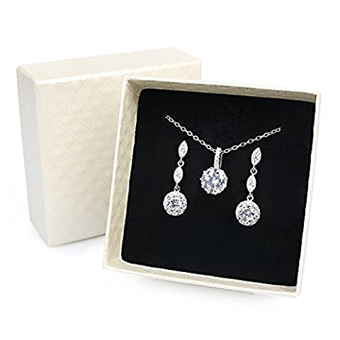 iMing Fashion Earrings Necklace Cubic Zirconia Round-Cut Halo Stud Dangle Earrings Necklace Jewelry Set