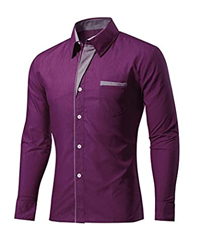 Men's Striped Long Sleeved Solid Color Slim Casual Shirt