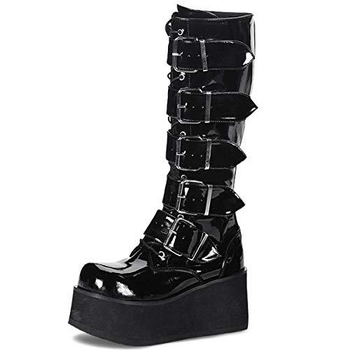 Demonia Knee Boots Trashville-518 Lack schwarz Gr. 38