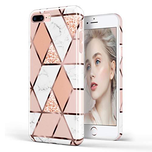 DOUJIAZ Schutzhülle für iPhone 7 Plus, iPhone 8 Plus, Marmor-Design, durchsichtig, TPU, weiches Silikon, Gummi, Schutzhülle für iPhone 7 Plus (2016) / iPhone 8 Plus (2017), Goldbraun Design 8