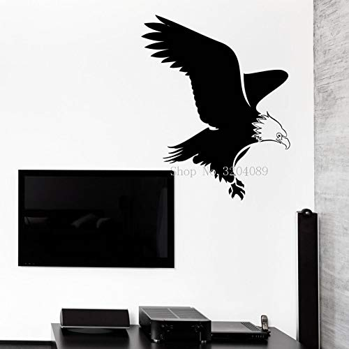 jiuyaomai Kühle Vinyl Aufkleber Wandaufkleber Abstrakte Adler Vogel Silhouette Flug Spannweite Wohnkultur Wohnzimmer Schlafzimmer Einzigartiges Geschenk 58x72 cm