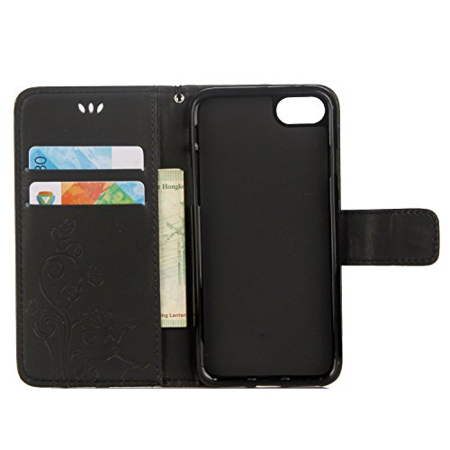 Custodia iPhone 6S, Custodia iPhone 6, Cover iPhone 6, Cover iPhone 6S, ikasus® iPhone 6S/iPhone 6 Colorato verniciato Custodia Cover [PU Leather] [Shock-Absorption] Goffratura Fiore di farfalla e rag Nero