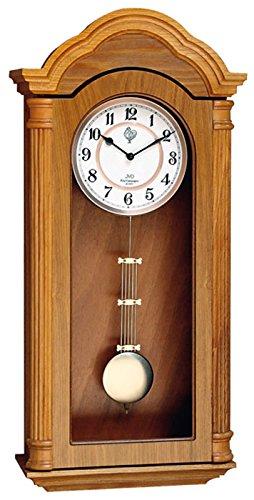 JVD N9353.2 Wanduhr Quarz mit Pendel Holz eiche farben Pendeluhr mit Melodie