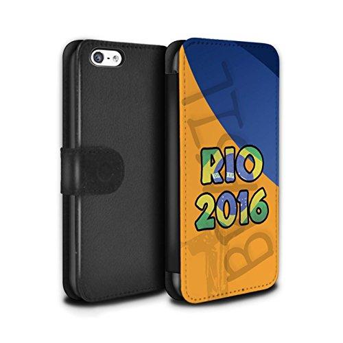Stuff4 Coque/Etui/Housse Cuir PU Case/Cover pour Apple iPhone 5C / Violet Design / Brésil Amour Rio 2016 Collection Orange