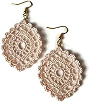 Beige drop earrings lace jewelry gift for her handmade crochet oval sicily