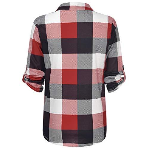 TOPKEAL 2019 Moda Camisa a Cuadros de Manga Larga de Algodón Casual...