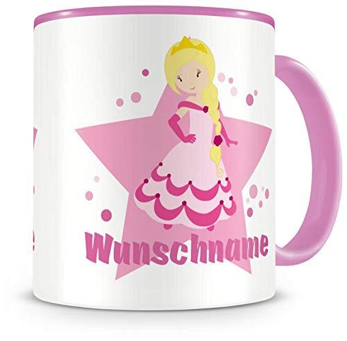 Samunshi Kinder-Tasse mit Namen und einer süßen Prinzessin als Motiv Bild Kaffeetasse Teetasse...