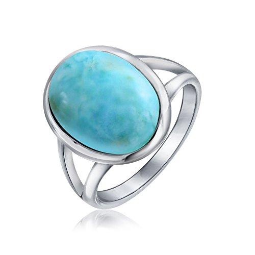 Einfache Große Ovale Lünette Boho Mode Statement Blau Larimar Ring Für Damen Für Jugendlich Split Band Sterling Silber (Larimar-schmuck)