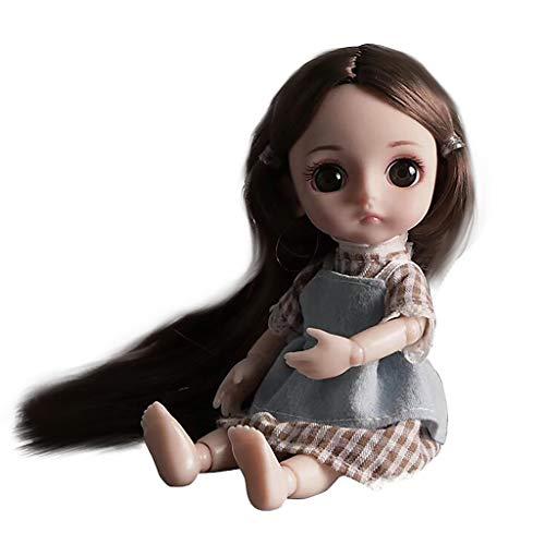 AmaMary 3D Nette bewegliche Gelenke Simulation Puppe mit Langen Haaren mädchen Spielzeug (C) (Dollar 2 Baby-spielzeug Unter)