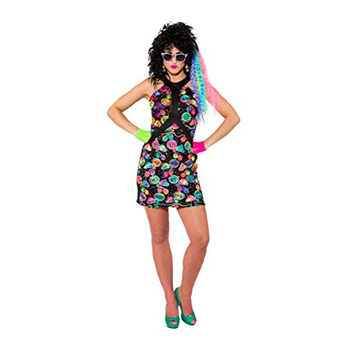Neon Disco Kleid Roxy für Damen - Gr. 40 ()