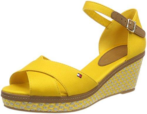 Tommy Hilfiger Damen Iconic Elba Sandal Basic Riemchensandalen, Gold (Old Gold 711), 37 EU (Wedge Schuhe)