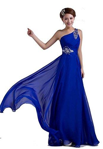 PLAER femmes une épaule sangle diamant robe robe de mariée de mariée Cocktail robe de soirée sexy Bleu Marine