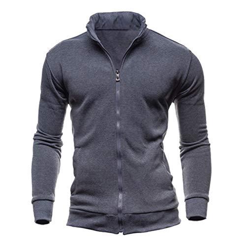Zip-front-strickjacke (Fangcheng Mens Erwachsene Stehkragen Mantel Langarm Slim Fit Strickjacke Voller Front Zip Sweater Klassische Windjacke Einfarbig Für Gym Laufen Workout)