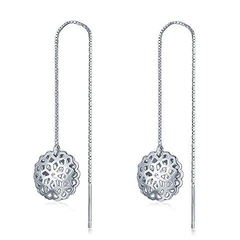 Sterling Silber 925gemustert Blume Einfädler Pull durch Kette lange Ohrringe Schmuck Geschenk für Frauen (Kette Einfädler Ohrringe)