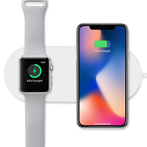 Sararoom 2 in 1 Wireless Ladegerät, Apple Watch Ladestation, Wireless Schnell Ladegerät 10w ,Qi Induktive Ladestation für iPhone X,apple watch series2,3, Samsung Galaxy S6/S6 edge/S7/S7 edge/S8+/Note 8, iPhone 8/8PLUS,Qi-Enabled Geräte, - Externe Batterie Beste