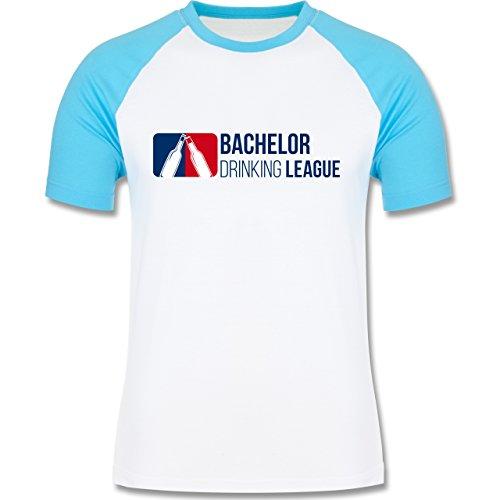 JGA Junggesellenabschied - Bachelor Drinking League - zweifarbiges Baseballshirt für Männer Weiß/Türkis