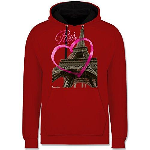 Städte - I love Paris - Kontrast Hoodie Rot/Schwarz