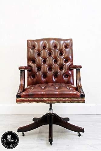 Classic Interior Chesterfield Bürostuhl Antik Sessel Bürosessel Leder Vintage