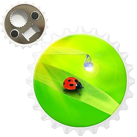 Ladybird On Leaf With Water Dew Drop Bottle Opener Fridge Magnet