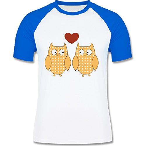 Eulen, Füchse & Co. - Verliebte Eulen Pärchen Herz - zweifarbiges Baseballshirt für Männer Weiß/Royalblau