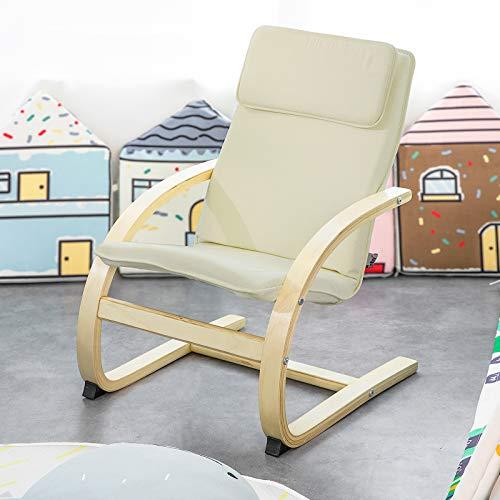 SoBuy KMB18-W Kinderschwingsessel Kindersessel mit Sicherheitsstopper Kinder relax Stuhl Belastbarkeit 120kg Birkenholz Beige Sitzhöhe 31cm