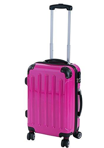 P-Collection Koffer Trolley Reisekoffer Hartschalenkoffer Handgepäck M-L-XL 3er/4er Set Zwillingsrollen 8 Farben (M, pink)