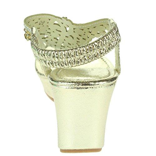 Femmes Dames Embellished Diamante Toe Post Slingback Soir Fête Confort Talon compensé Sandales Chaussures Taille Or