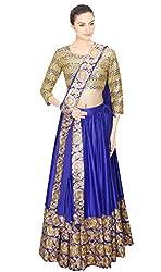 KMOZI Silk Lehenga Choli (Cream And Royal Blue_Free Size)