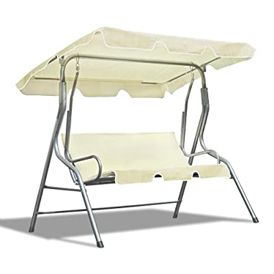 JOM Hollywood Schaukel, 3 Sitzer, 110 x 170 x 153 cm, inklusive Dach, silber / crème von JOM