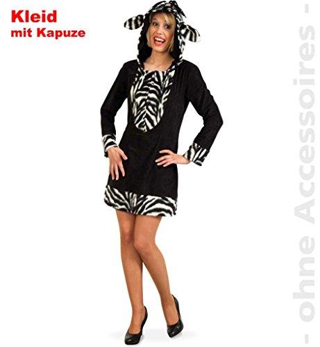 Kostüm Zebra, Damenkleid, Tierkostüm für Karneval (44) (Närrisches Zebra Kostüme)
