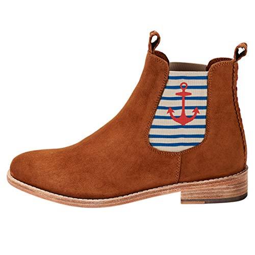 CRICKIT DLM Damen Chelsea Boot Julia mit rotem Anker Dekorative Naht -