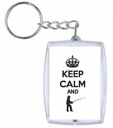 "Preisvergleich Produktbild Schlüsselanhänger ""KEEP Calm and ANGELN- Angler Sport"" aus hochwertigem Acryl - Keyring- Schlüsselring - Spass- Kult- DVD- Fun- JGA"