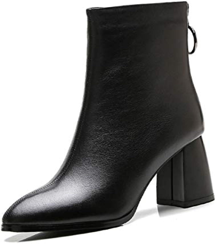 KOKQSX-l'automne et l'hiver Les Les Les Bottes à Talons 7cm Cuir Chaussures Martin pointcuts Bref des Bottes.B07H8G1VPSParent dbf9f0